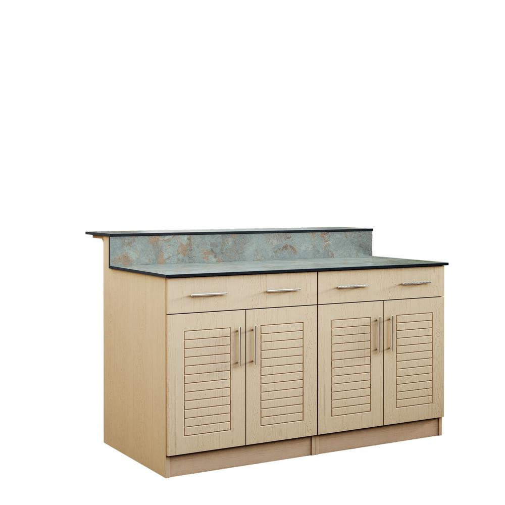 Key West 59.5 in. Outdoor Bar Cabinets with Countertop 4 Door