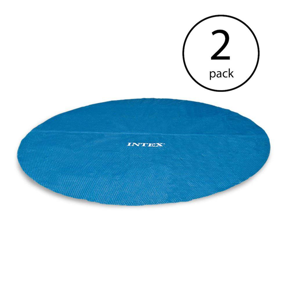 Intex 18 ft. Round Vinyl Solar Cover for Swimming Pools (2-Pack)