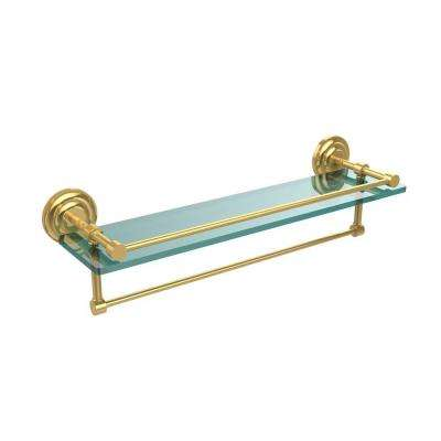 22 in. L  x 5 in. H  x 5 in. W Clear Glass Bathroom Shelf with Towel Bar in Polished Brass