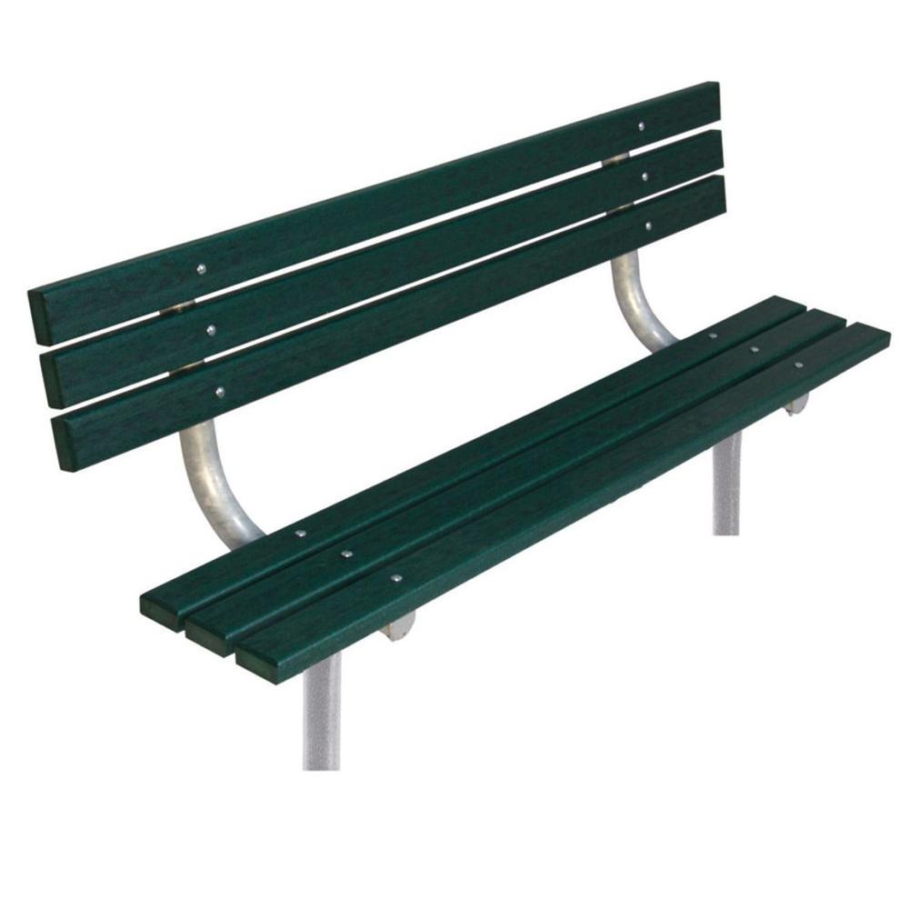 Ultra Play 6 ft. Green Commercial Park In-Ground Recycled Plastic Bench with Back Surface Mount