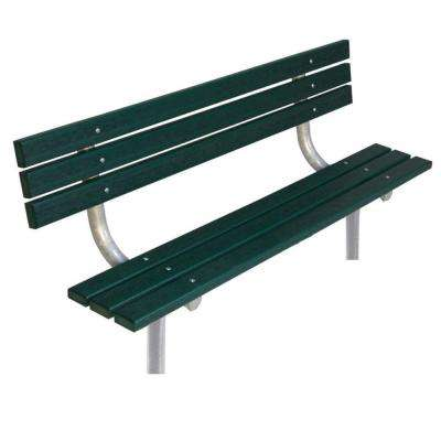 6 ft. Green Commercial Park In-Ground Recycled Plastic Bench with Back Surface Mount