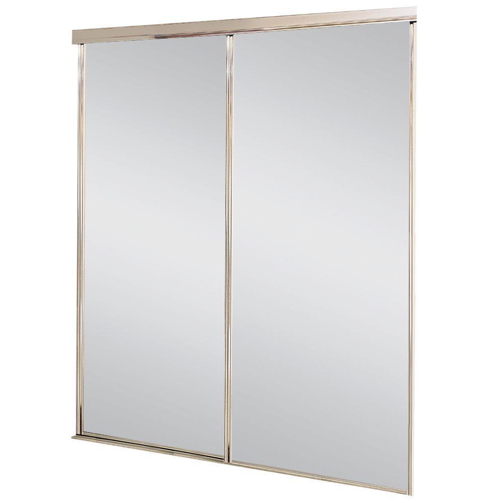 Pacifica Aluminum Satin Clear Mirrored Sliding Door
