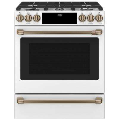 30 in. 5.7 cu. ft. Slide-In Dual Fuel Range with Self-Cleaning Convection Oven in Matte White, Fingerprint Resistant