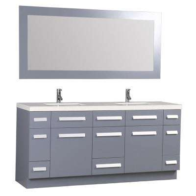 Moscony 72 in. W x 22 in. D Double Vanity in Gray with Quartz Vanity Top in White with White Basin and Mirror