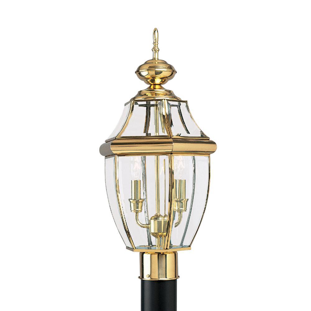 Sea Gull Lighting Lancaster 2-Light Outdoor Polished Brass