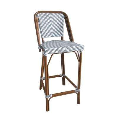 Brown Stackable Aluminum and Plastic Wicker Bistro Bar Chair in Gray and White Outdoor Dining Chair