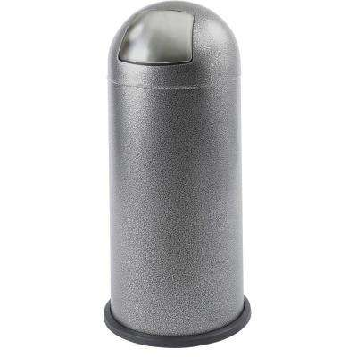15 Gal. Silver Round Top Trash Can