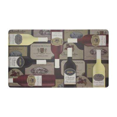 Wine Label 20 in. x 32 in. Extra Thick Premium Anti-Fatigue Kitchen Mat