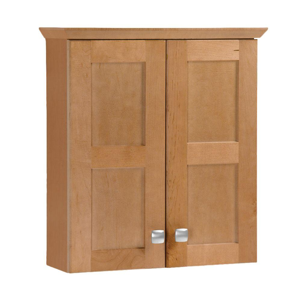 American Classics Artisan 19-3/4 in. W x 21-7/10 in. H x 7 in. D Bathroom Storage Wall Cabinet in Harvest