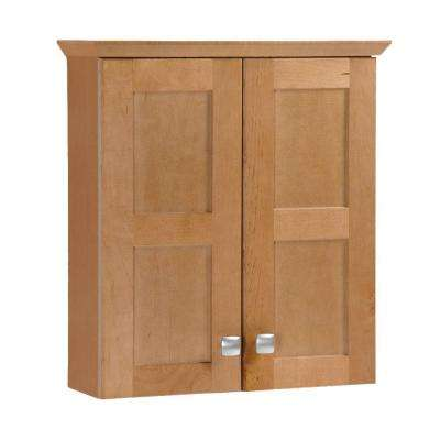 Artisan 19-3/4 in. W x 21-7/10 in. H x 7 in. D Bathroom Storage Wall Cabinet in Harvest