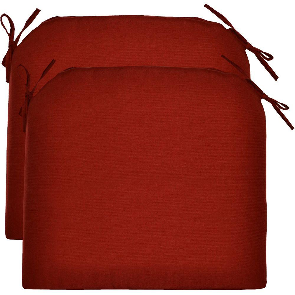 Hampton Bay Red Tweed Rapid-Dry Deluxe Outdoor Seat Cushion (2-Pack)