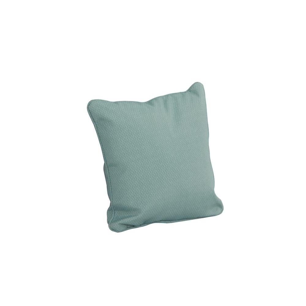 Hampton Bay Millstone Blue Outdoor Square Throw Pillow (2-Pack)