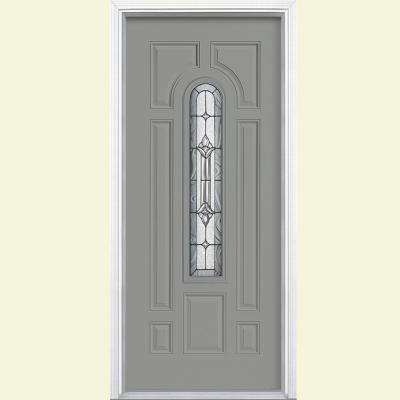 36 in. x 80 in. Providence Center Arch Silver Cloud Right-Hand Inswing Painted Steel Prehung Front Door w/ Brickmold