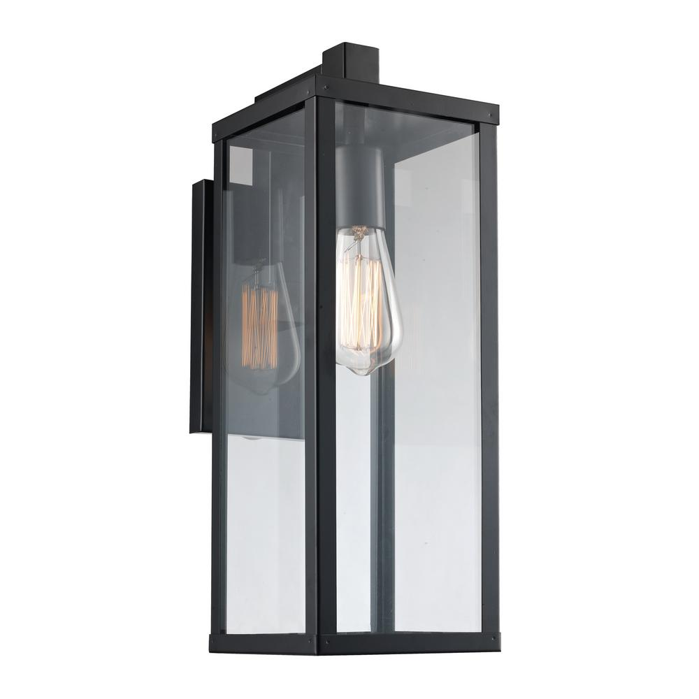 17.75 in. 1-Light Black Outdoor Wall Lantern