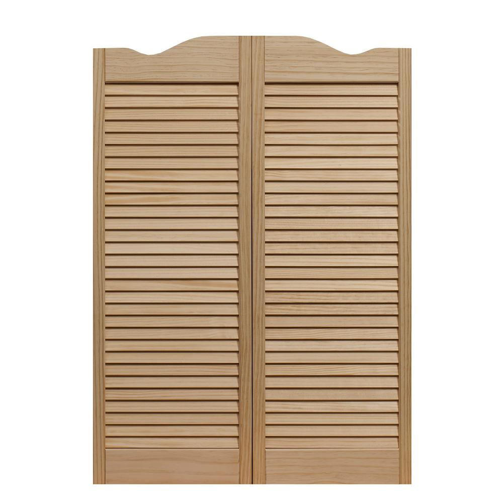36 in. x 42 in. Dixieland Louvered Unfinished Pine Wood Saloon Door