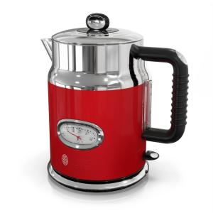 Retro 5-Cup Red Stainless Steel Electric Kettle with Filter