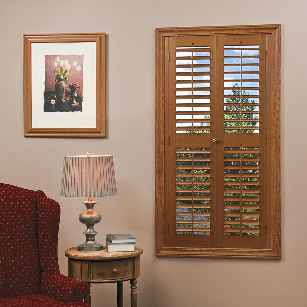 Homebasics plantation faux wood oak interior shutter price varies by size qspb3560 the home for Cheap window shutters interior