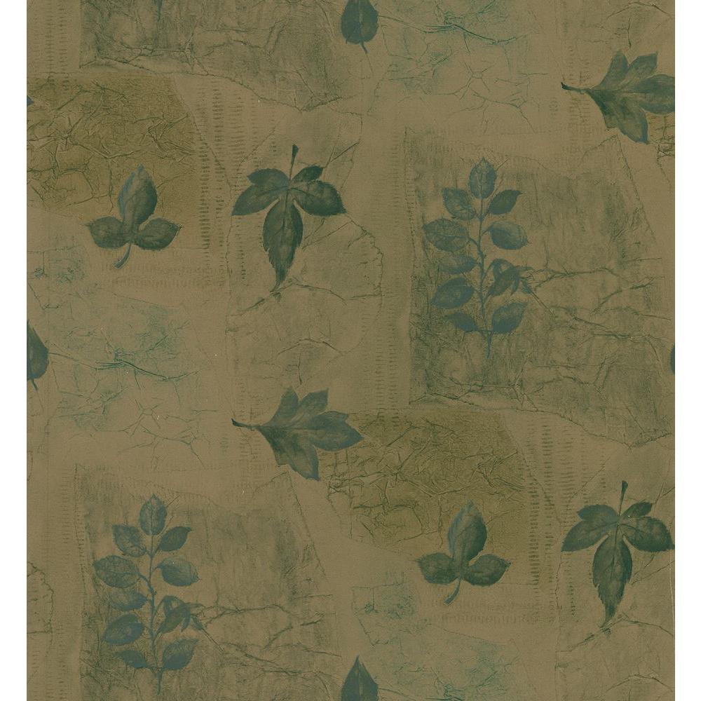 Kitchen and Bath Resource II Brown Multi-Leaf Wallpaper Sample