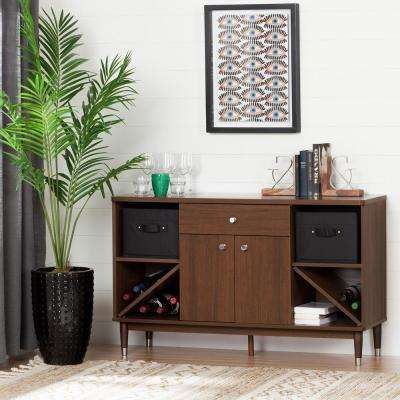 Olly Brown Walnut 1-Drawer Storage Cabinet