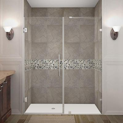 Nautis 60 in. x 72 in. Frameless Hinged Shower Door in Stainless Steel with Clear Glass