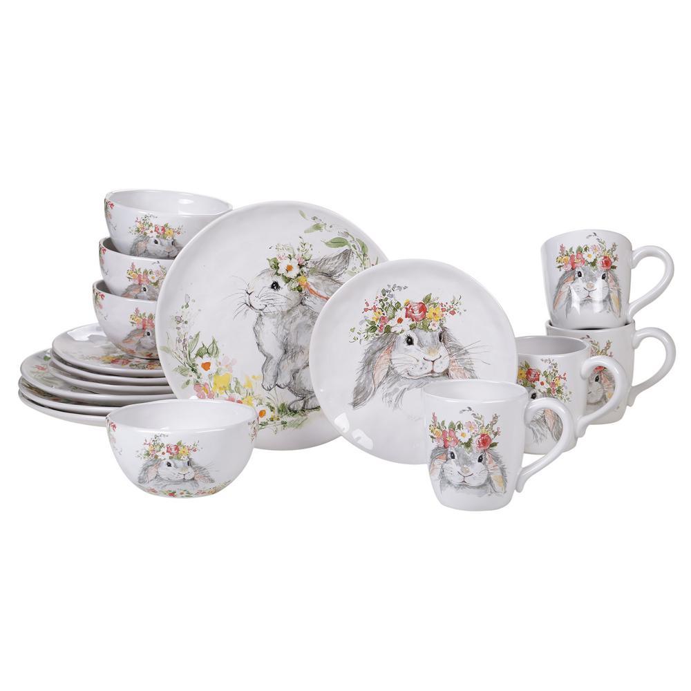 Sweet Bunny 16-Piece Seasonal Multicolored Earthenware Dinnerware Set (Service for 4)