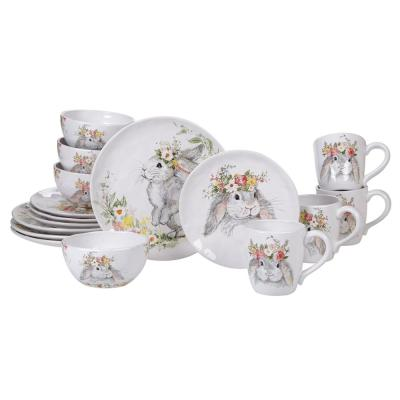 Sweet Bunny 16-Piece Seasonal Multicolored Earthenware Dinnerware Set (Service for 4)
