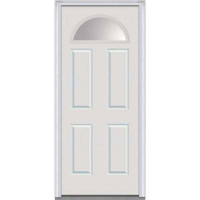 36 in. x 80 in. Right-Hand Inswing Fan Lite Clear 4-Panel Classic Primed Fiberglass Smooth Prehung Front Door
