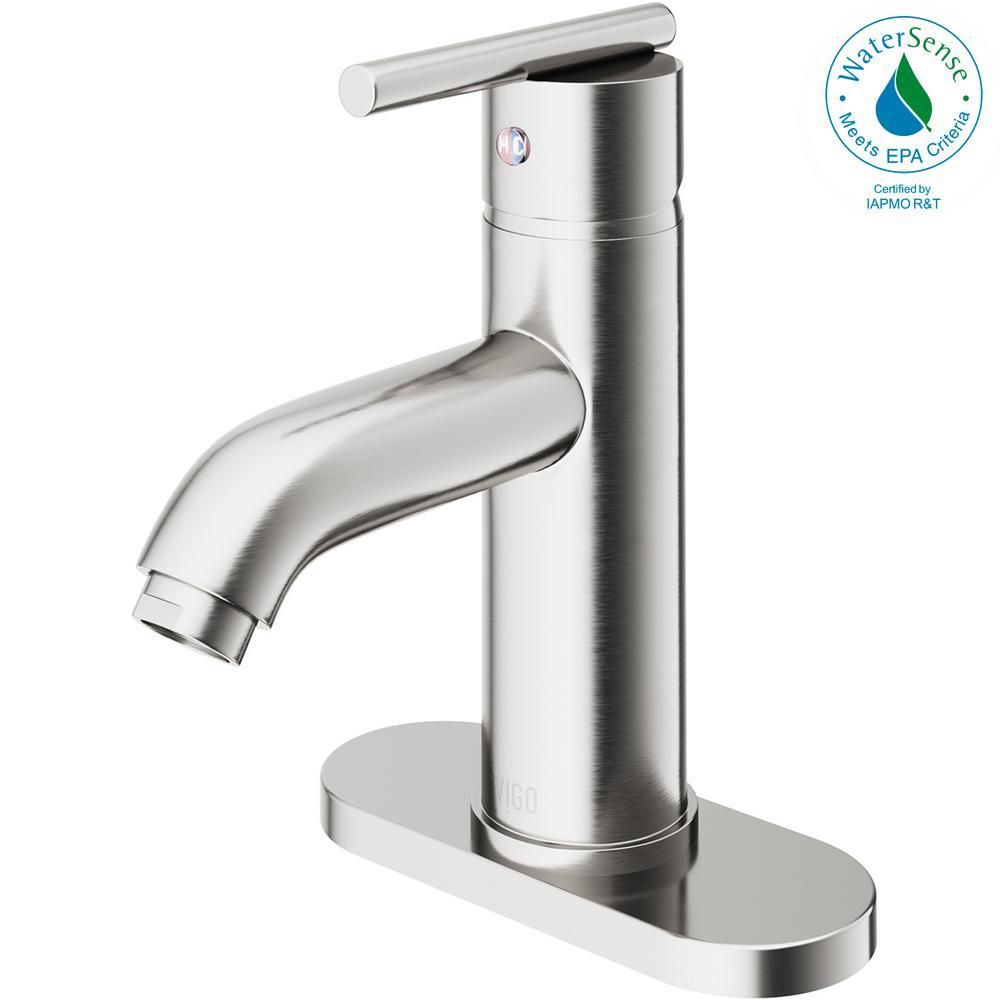 VIGO Setai Single Hole Single-Handle Bathroom Faucet in Brushed ...