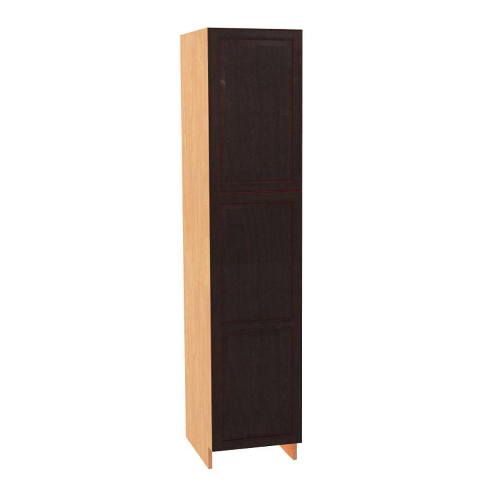 aa68b98155d3 Home Decorators Collection. Ancona Ready to Assemble 18 x 84 x 21 in. Pantry /Utility Cabinet with 2 Soft Close Doors in Mocha