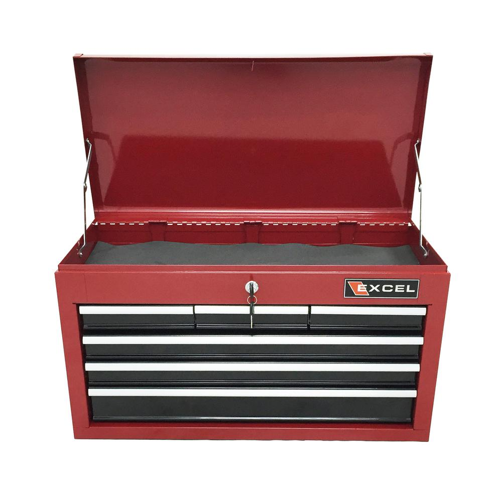 26 in. 6 Drawer Top Chest in Red