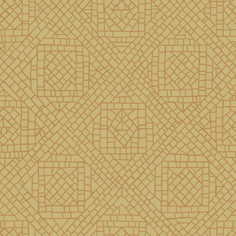 The Wallpaper Company 56 sq. ft. Elegance Trellis Yellow/Green Wallpaper-DISCONTINUED