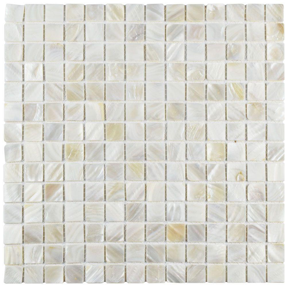 Merola Tile Conchella Square White 12 In X 2 Mm Natural