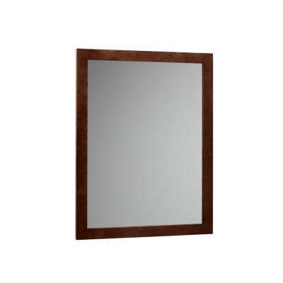Contemporary 24 in. W x 32 in. H Framed Mirror in Dark Cherry
