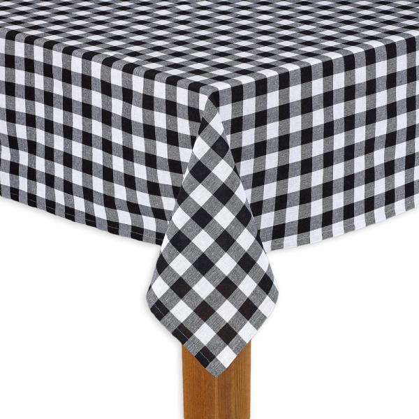 Admirable Buffalo Check 60 In X 84 In Black 100 Cotton Tablecloth For Any Table Home Interior And Landscaping Ponolsignezvosmurscom