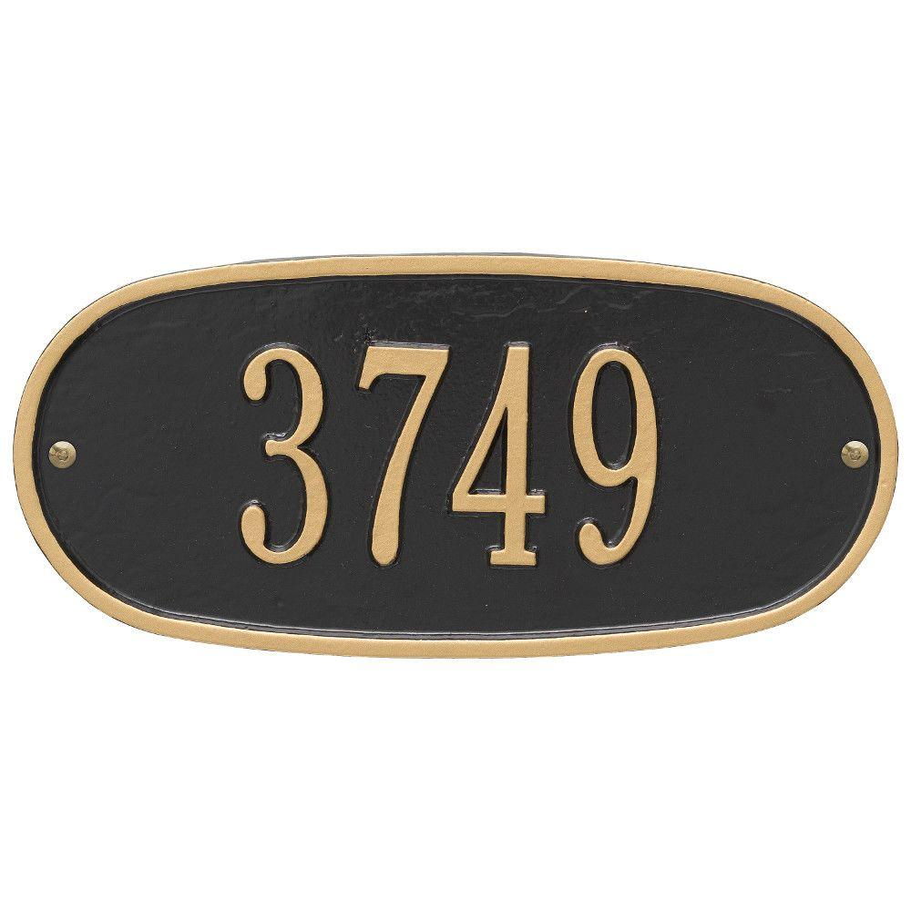 Whitehall Products Standard Oval Black/Gold Wall 1-Line Address Plaque