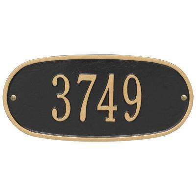 Standard Oval Black/Gold Wall 1-Line Address Plaque