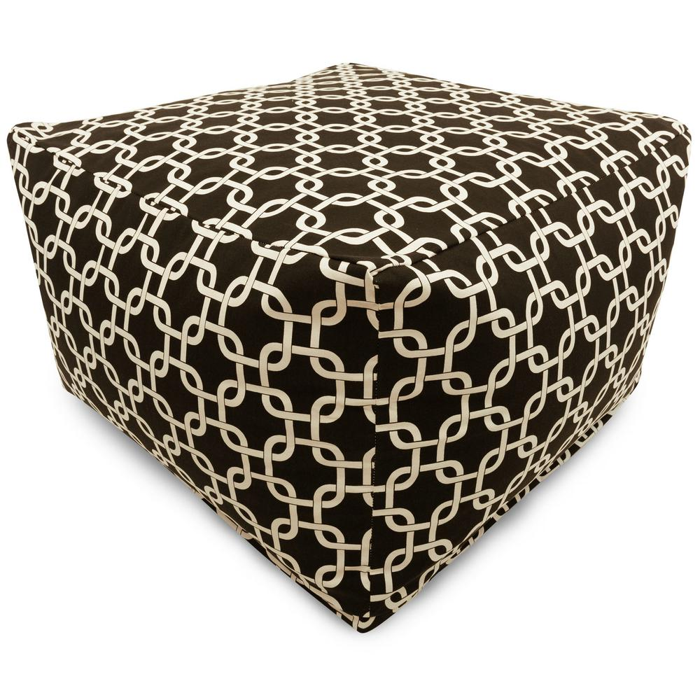 Majestic Home Goods Black Links Indoor/Outdoor Ottoman Cushion