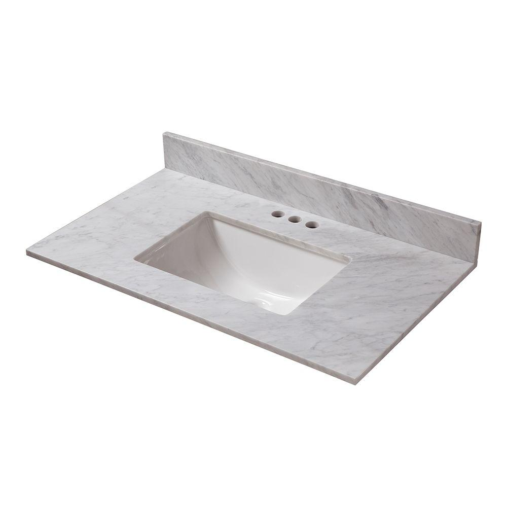 HomeDecoratorsCollection Home Decorators Collection 25 in. W x 19 in. D Marble Vanity Top in Carrara with White Single Trough Sink