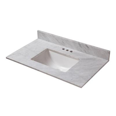 25 in. W x 19 in. D Marble Vanity Top in Carrara with White Single Trough Sink