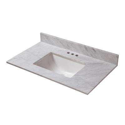 25 in. W x 19 in. D Marble Vanity Top in Carrara with White Single Trough Basin