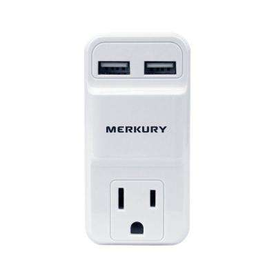 1 AC Outlet and 2-USB Port 2.1-Amp Power Charging Station - White