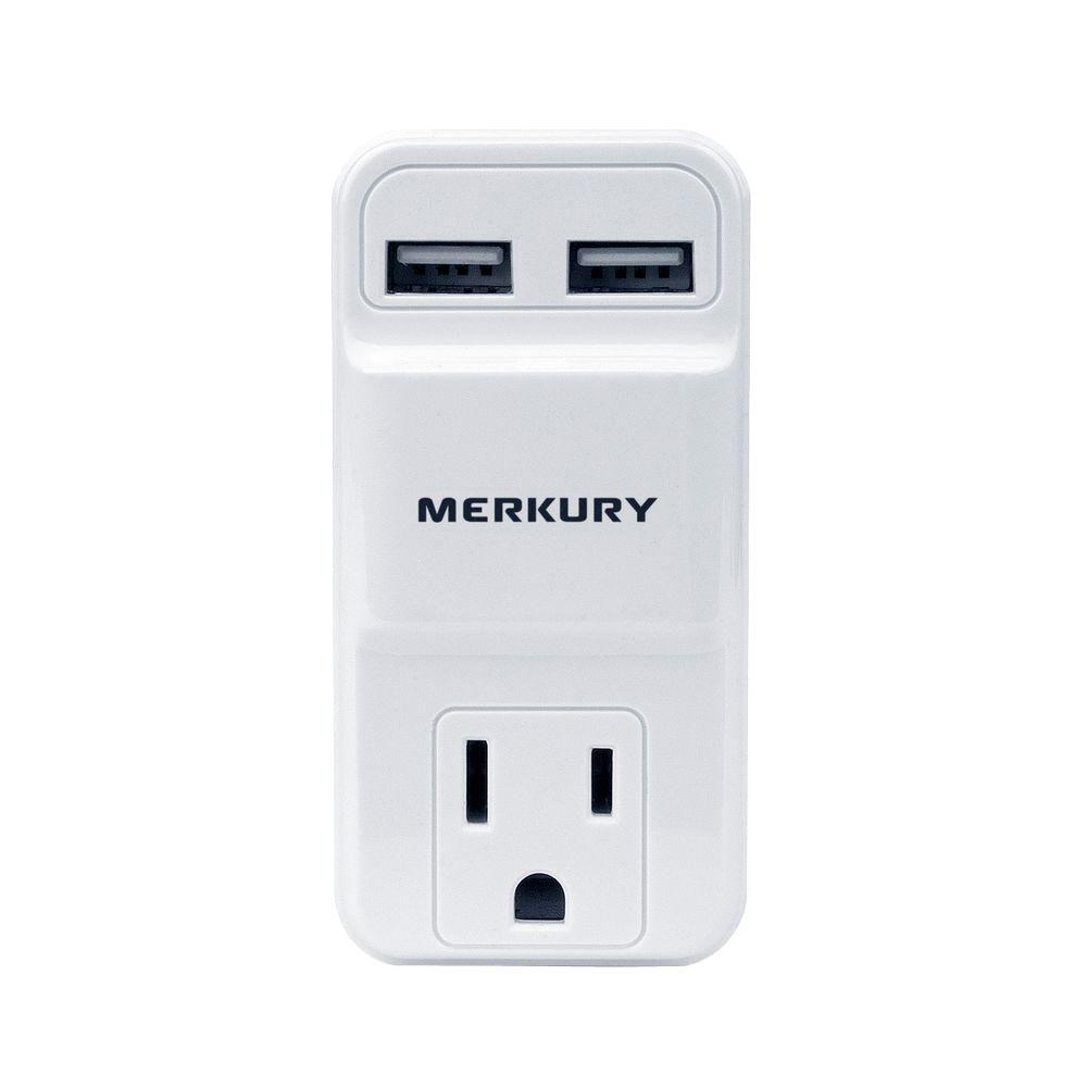 Merkury Innovations 1 AC Outlet and 2-USB Port 2.1-Amp Po...