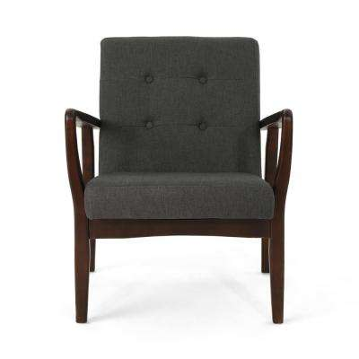 Brayden Mid-Century Modern Buttoned Dark Gray Fabric Club Chair