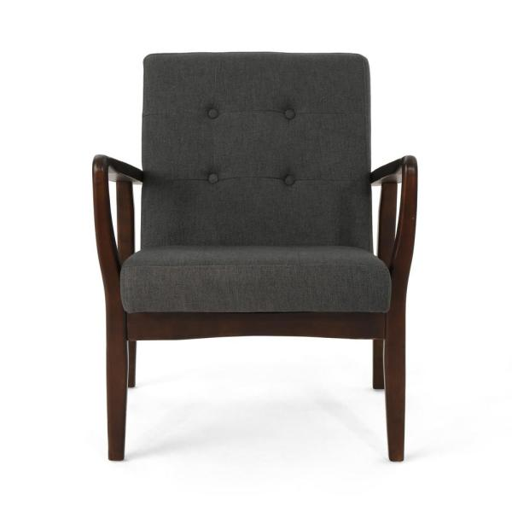 Noble House Brayden Mid-Century Modern Buttoned Dark Gray Fabric Club Chair