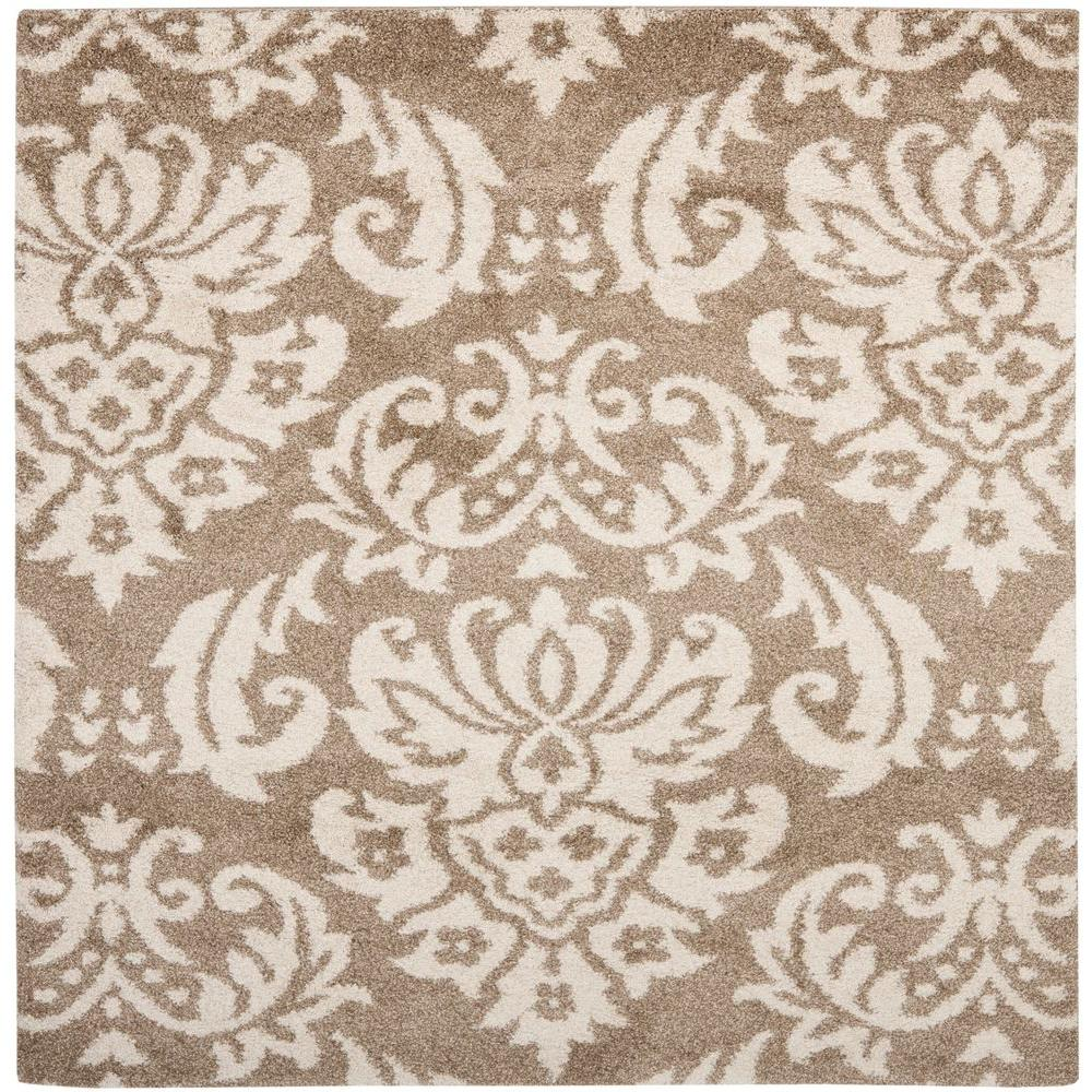 Florida Shag Beige/Cream 4 ft. x 4 ft. Square Area Rug