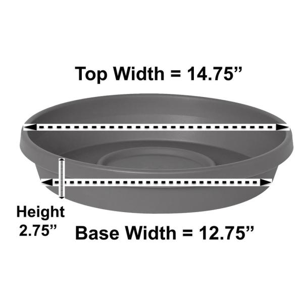 Terra Charcoal Plastic Plant Saucer Tray for Planters 11 in. to 16 in.