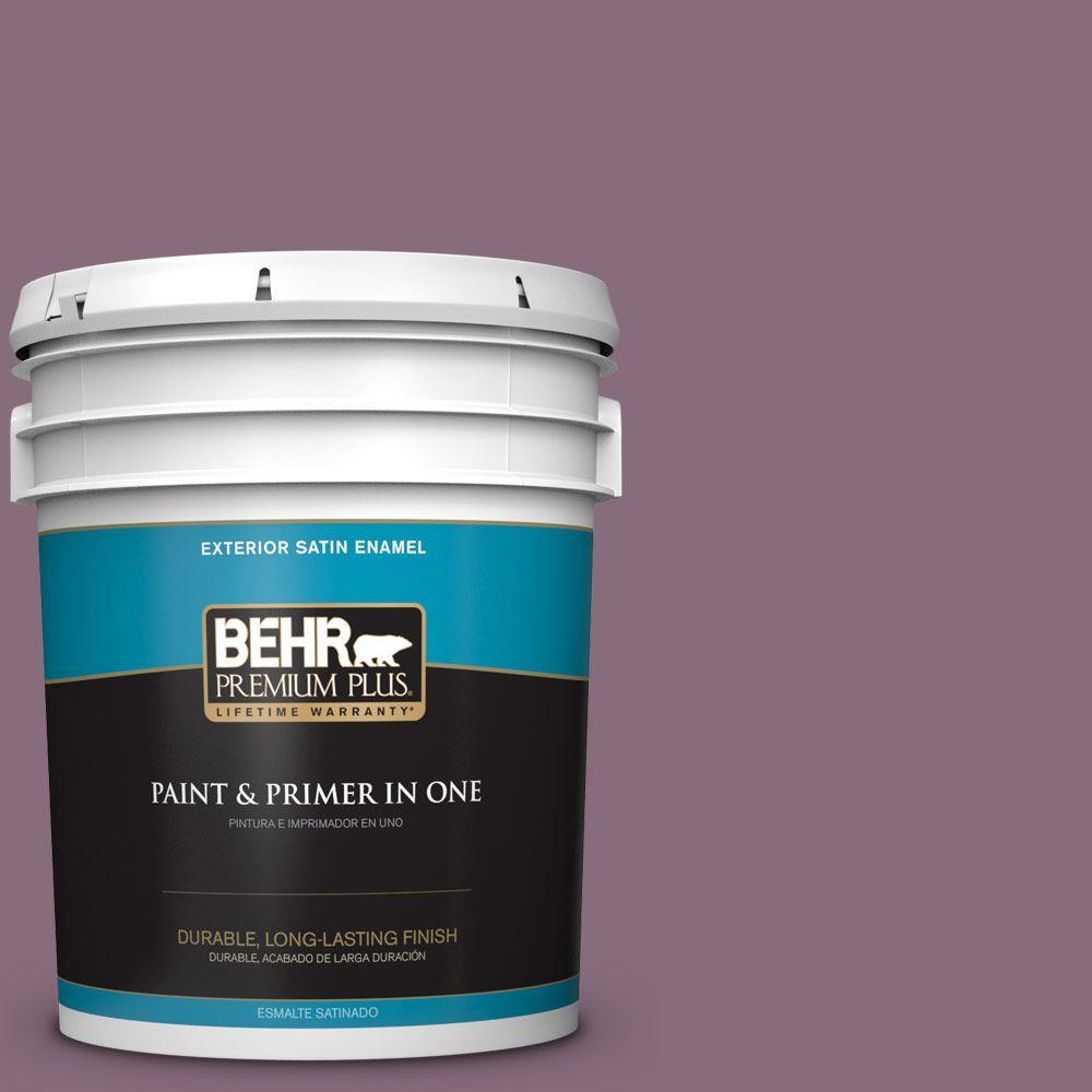 BEHR Premium Plus 5-gal. #S110-6 Plum Royale Satin Enamel Exterior Paint