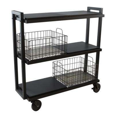 3-Tier Steel Cart System Wide in Black