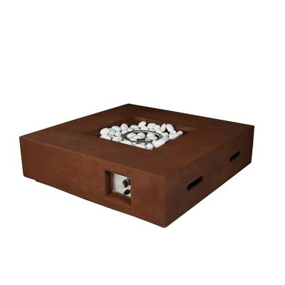 Brenta 21.5 in. W x 12 in. H Square Outdoor Gas Firepit Table in Rusty Brown