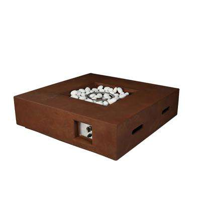 Brenta Outdoor Square gas firepit table, rusty brown